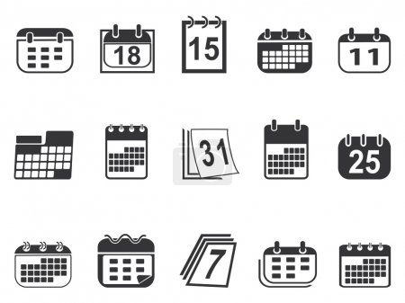 Illustration for Isolated simple calendar icons set from white background - Royalty Free Image