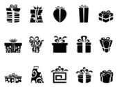 The collection of black gift box icons on white background