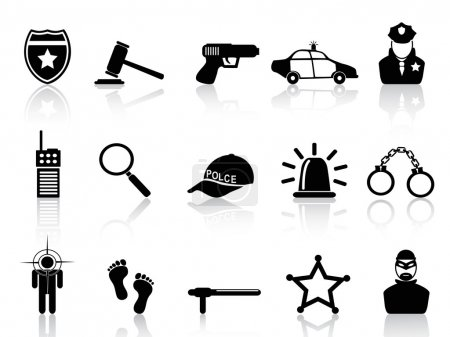 Illustration pour Isolé icônes de la police noire réglé à partir de fond blanc - image libre de droit