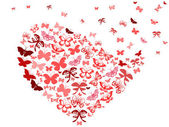 The background of red butterfly heart for Valentine's Day
