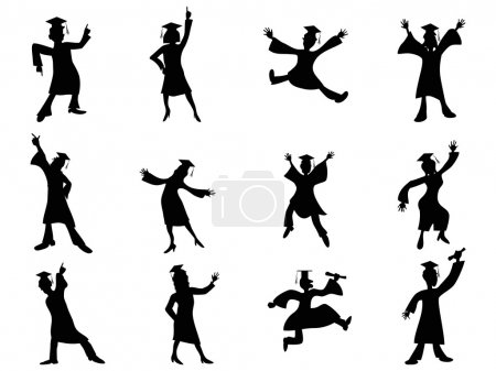 Illustration for Isolated happy graduates Silhouette from white background - Royalty Free Image