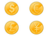 Isolated four different coins symbol on white background