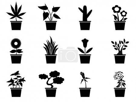 Illustration for Isolated black pot plants icons set from white background - Royalty Free Image