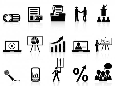 Business presentation icons set