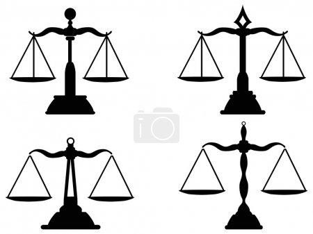Illustration for Isolated Justice scales silhouette from white background - Royalty Free Image