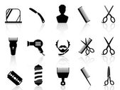 Barber tools and haircut icons set