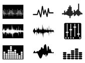 Isolated music soundwave icons set from white background
