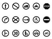 Isolated road sign icons set from white background