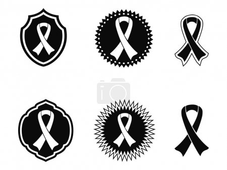 Illustration for Islated black awareness ribbons and Badges on white background - Royalty Free Image
