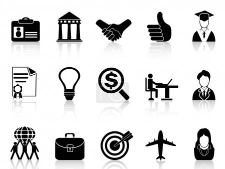 Illustration for Isolated black Business Career Icons from white background - Royalty Free Image