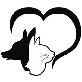 Isolated Dog and cat with heart from white for pets design