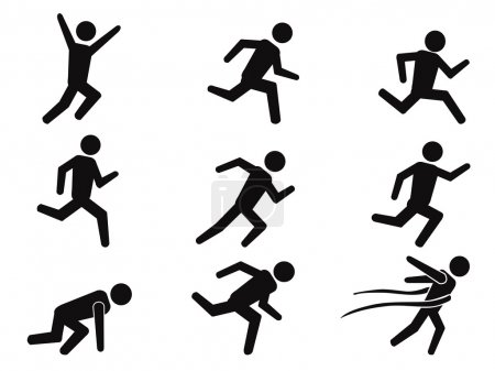 Runner stick figure icons set