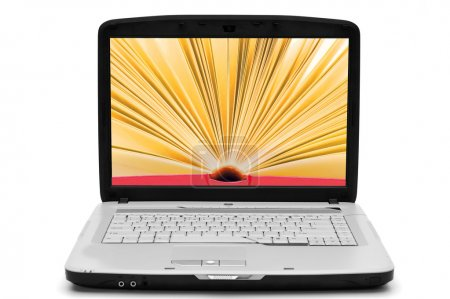 Photo for Open book with yellow pages on the screen laptop, e-book, isolated white - Royalty Free Image