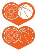 Basketball hoop and ball in heart