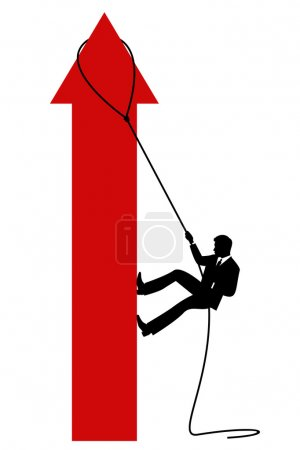 The businessman climbing to top of schedule arrow. Vector illustration isolated on a white background. The different graphics are all on separate layers so they can easily be moved or edited individually.