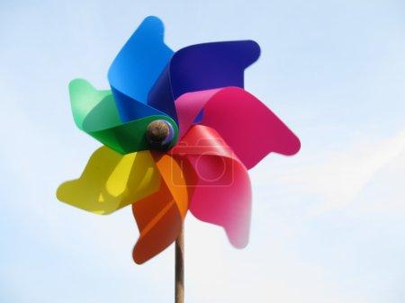 Brightly coloured pinwheel