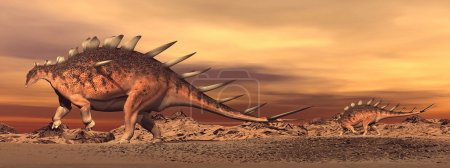 Kentrosaurus dinosaurs mum and baby - 3D render