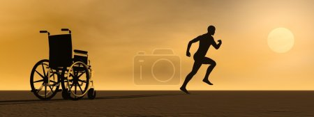 Photo for Happy man running up from a wheelchair to the sun - Royalty Free Image