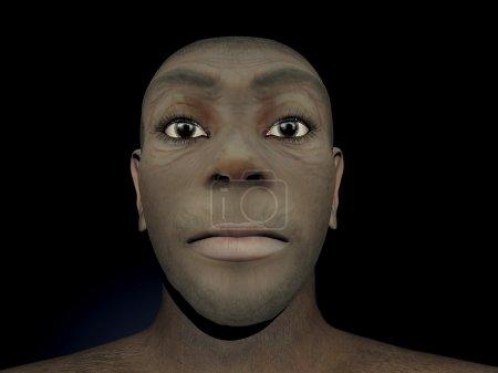 Photo pour Portrait d'une femme homo erectus, ancêtre préhistorique qui vivait en fond noir, il y a environ 1,8 millions années - image libre de droit