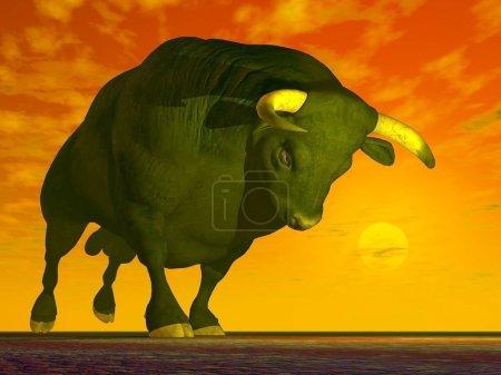 Agressive bull - 3D render