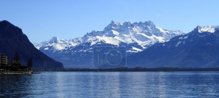 Geneva lake and Aravis Alps, Montreux, Switzerland