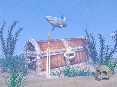 Photo pour Paysage sous-marin fantastique avec coffre aux trésors perdus, épée, crâne et requins - image libre de droit