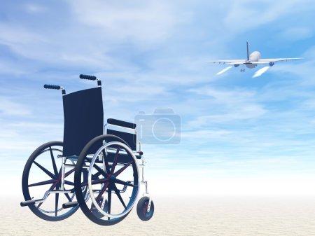 Photo pour Possible ou ne pas de voyager en avion avec fauteuil roulant - image libre de droit