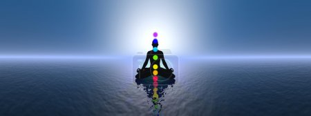 Chakras at blue sunset - 3D render