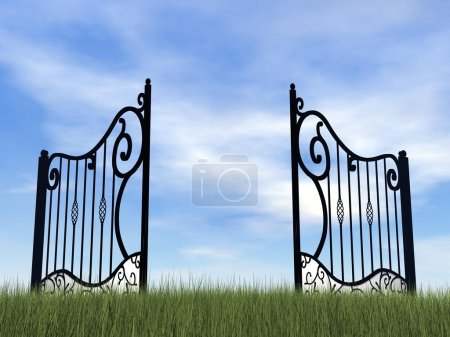 Photo for One vintage black gate in nature by cloudy day - Royalty Free Image