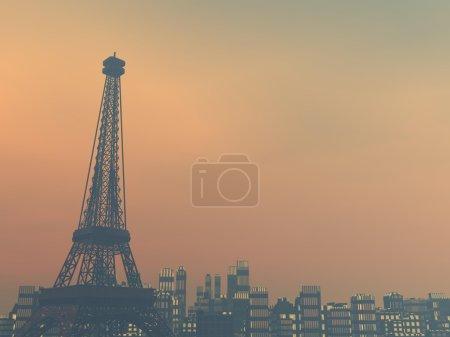 Pollution in Paris, France - 3D render