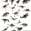 Set of dinosaurs in white background - 3D render...