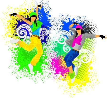 Illustration pour Hip hop filles danseuses - image libre de droit