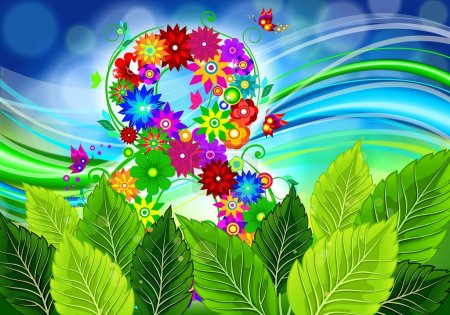 8 of flowers on a spring background