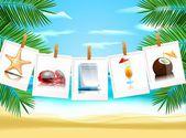 Photo icons on the beach