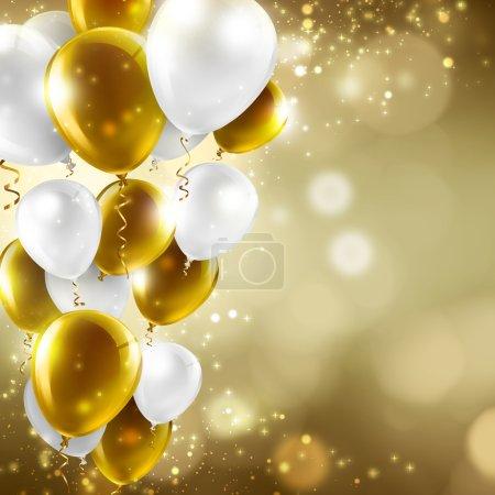 Photo pour Ballons Lumières brouillées abstraites - festif fond or et blancs - image libre de droit