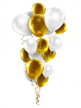 Photo pour Ballons or et blancs sur fond blanc - image libre de droit