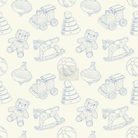 Illustration pour Jouets rétro motif sans couture - image libre de droit