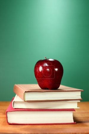 Copy Space Back to School Books and Apple With Cha...