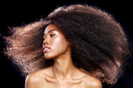 Photo for Beautiful Stunning Portrait of an African American Black Woman With Big Hair - Royalty Free Image