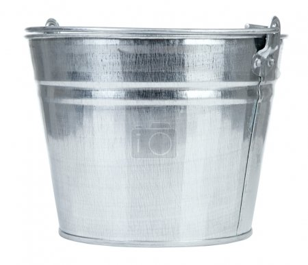 Photo for Empty metal bucket isolated on white background - Royalty Free Image