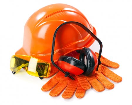 Industrial protective wear on white background...