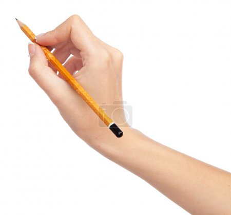 Photo for Female hand holding a pencil, isolated on white background - Royalty Free Image
