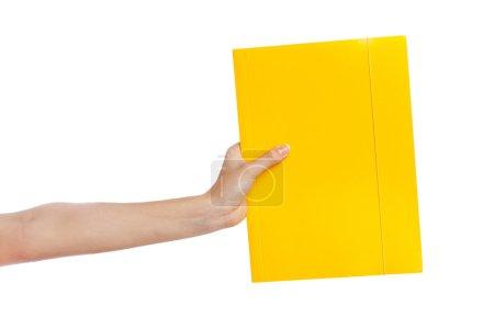 Photo for Female hand holding a folder, white background - Royalty Free Image