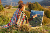 """Постер, картина, фотообои """"Молодой художник живопись Осенний пейзаж"""""""