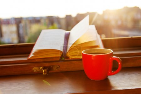 Books and a coffee cup