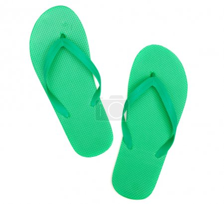 Green flip-flops isolated on white background