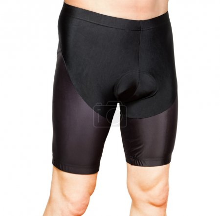 Men in black tight cycling shorts isolated on whit...