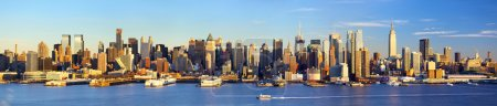 Photo pour Manhattan panorama de skyline midtown avant le coucher du soleil, new york - image libre de droit