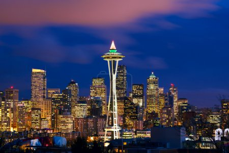 Photo for Seattle skyline with Space Needle Tower at dusk, WA, USA - Royalty Free Image