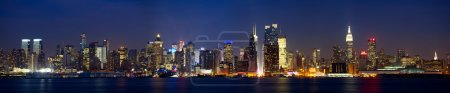 Manhattan skyline panorama with Times Square light...